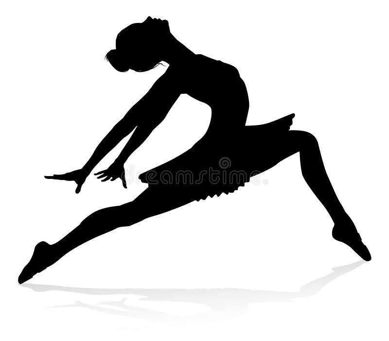 Силуэт танцев артиста балета иллюстрация вектора