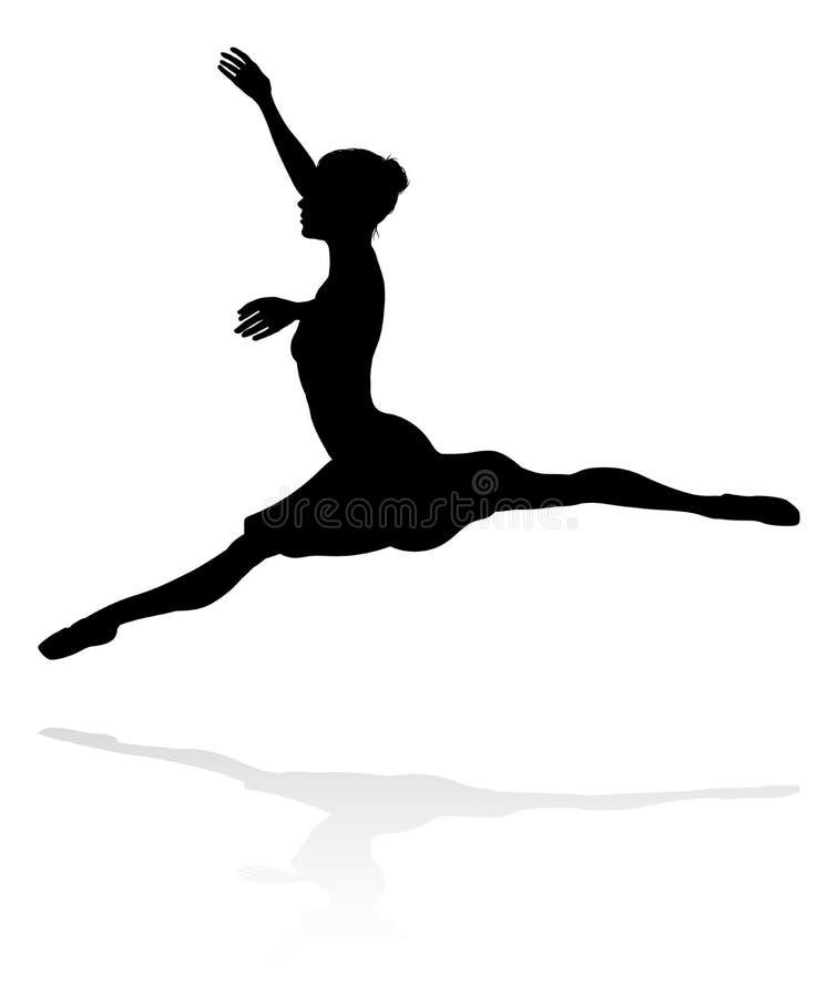Силуэт танцев артиста балета иллюстрация штока