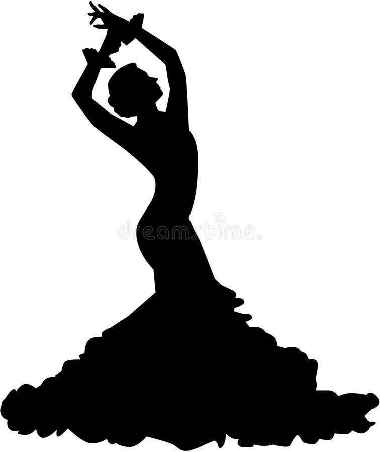 Силуэт танцора фламенко иллюстрация вектора