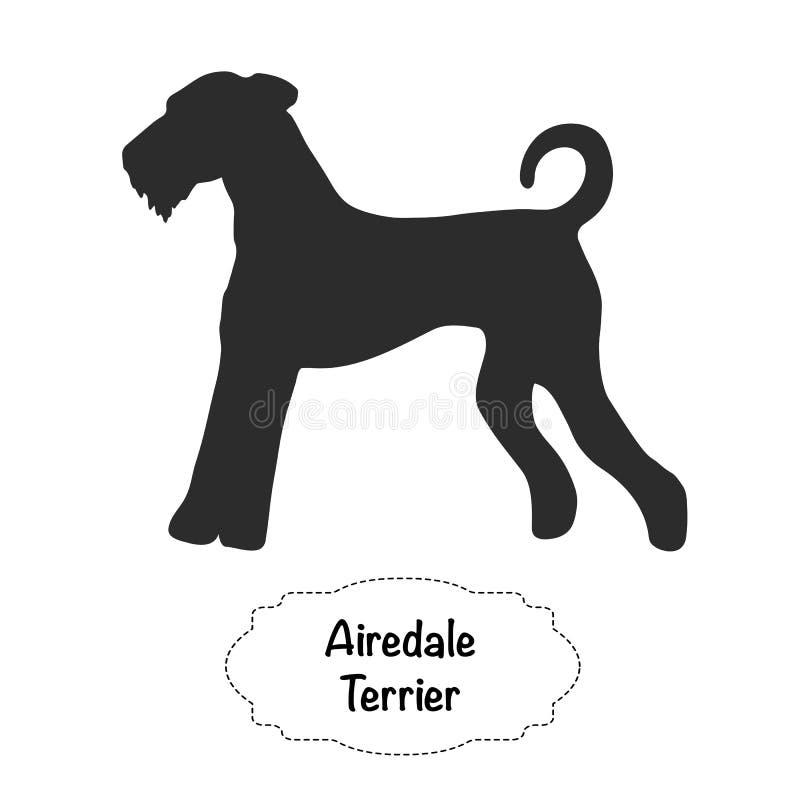 Силуэт терьера Airedale изолированный вектором бесплатная иллюстрация