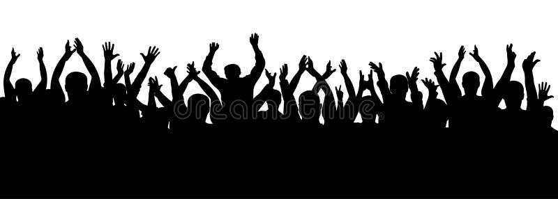 Силуэт толпы рукоплескания, жизнерадостные люди Концерт, партия Смешной веселить, изолированный вектор иллюстрация штока