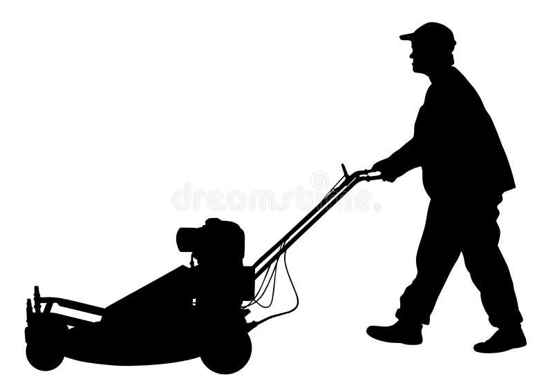Силуэт травокосилки человека садовника кося иллюстрация вектора