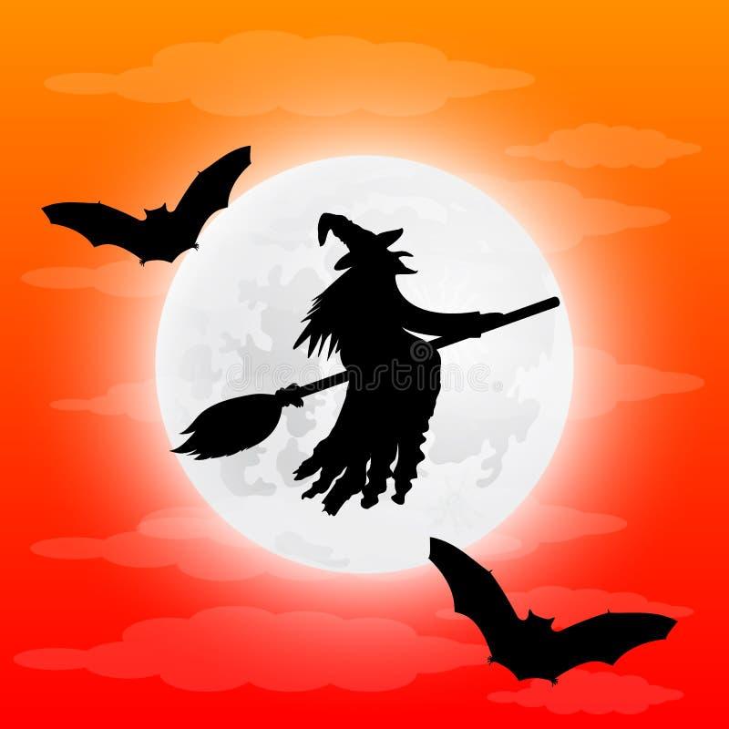 Силуэт ужасной ведьмы на broomstick с летучими мышами иллюстрация штока