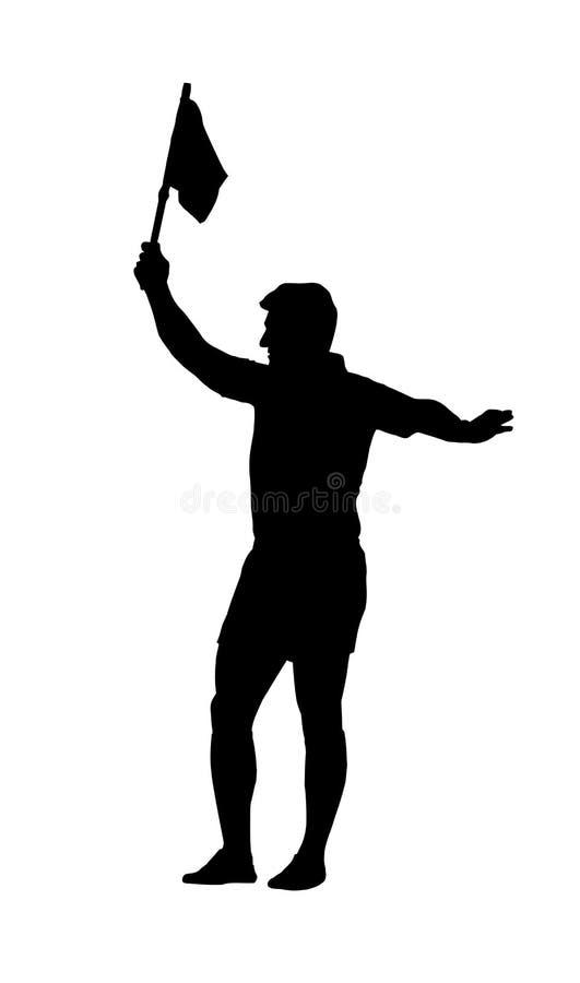 Силуэт - флаг удерживания судья-рефери рэгби ассистентский бесплатная иллюстрация