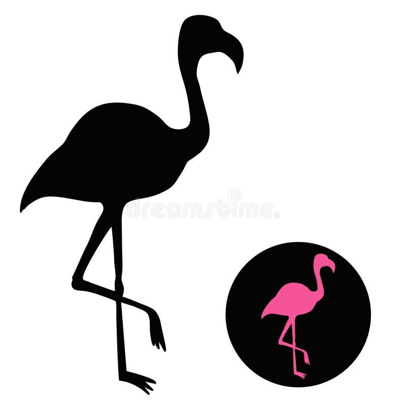 Силуэт фламинго изолированный на бело- иллюстрации вектора иллюстрация вектора