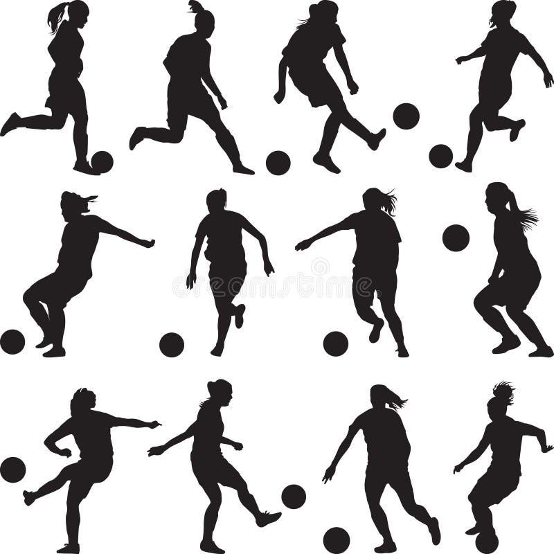 Силуэт футболиста женщины стоковые изображения