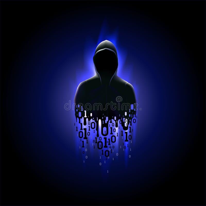 Силуэт хакера в клобуке с бинарным кодом на светящей синей предпосылке, похищением данных иллюстрация вектора