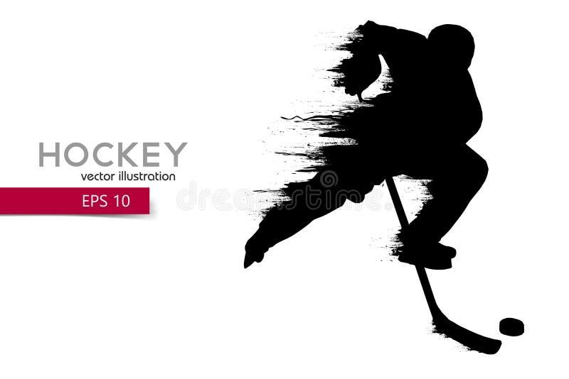 Силуэт хоккеиста также вектор иллюстрации притяжки corel иллюстрация штока