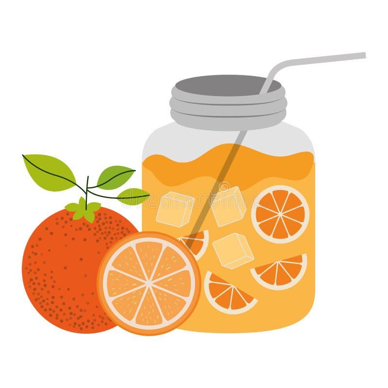 Силуэт цвета бутылки с освежать оранжевый напиток иллюстрация вектора