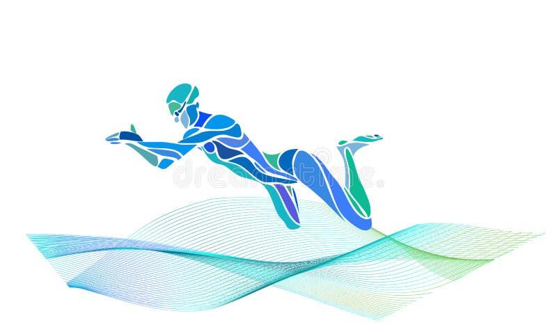 Силуэт цвета вектора брасса пловца иллюстрация вектора