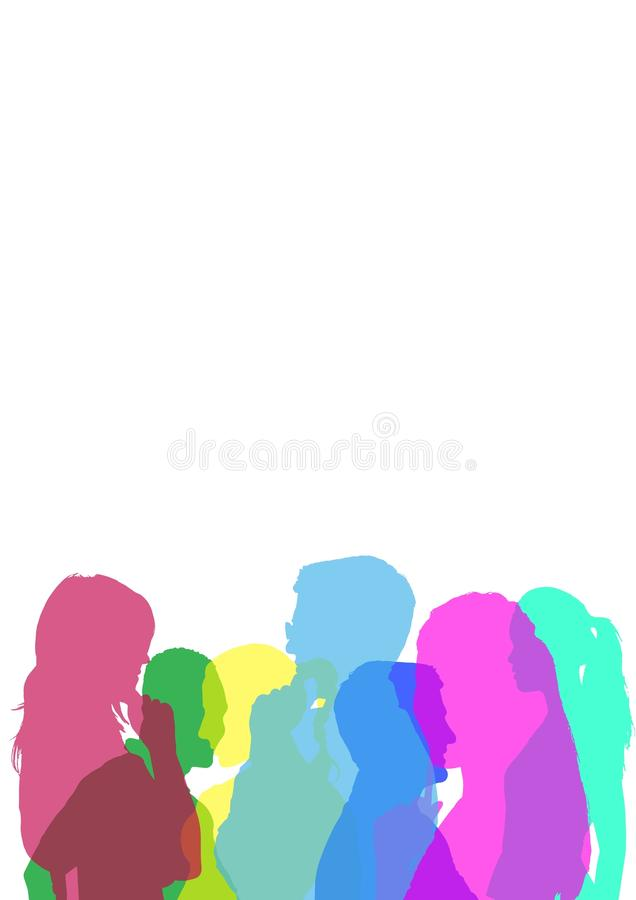 силуэт цвета людей иллюстрация вектора