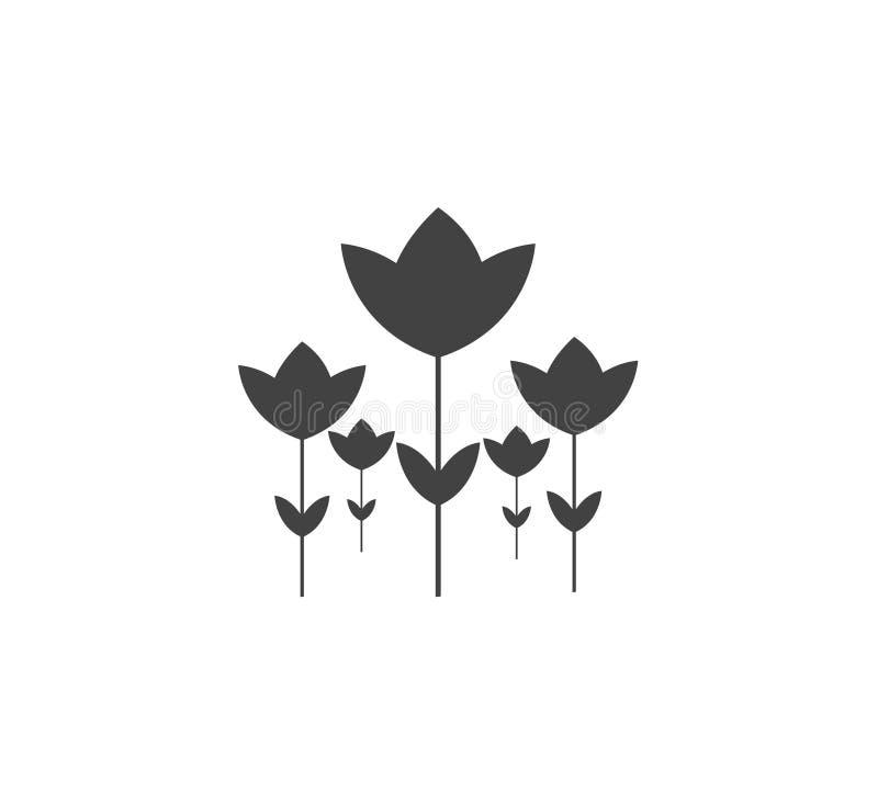 Силуэт цветков тюльпана Черно-белые тюльпаны изолированные над белой предпосылкой иллюстрация вектора
