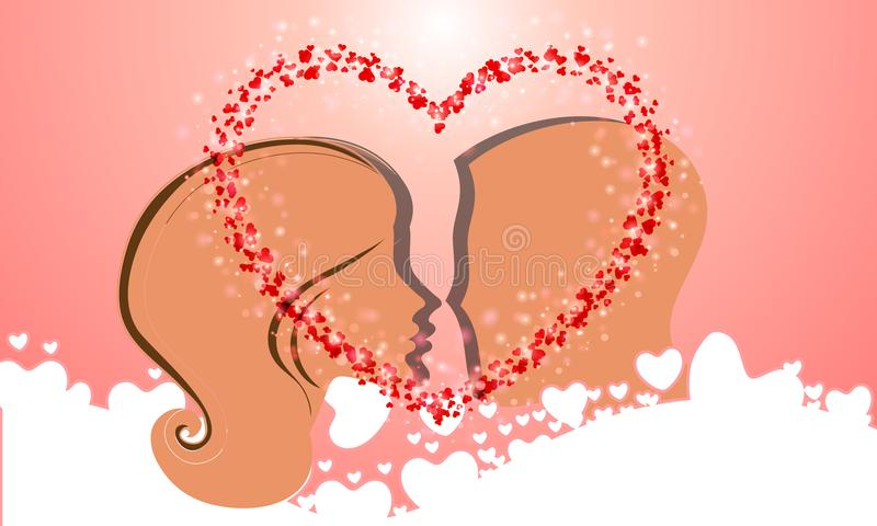 Силуэт целовать головы и женщин иллюстрация штока