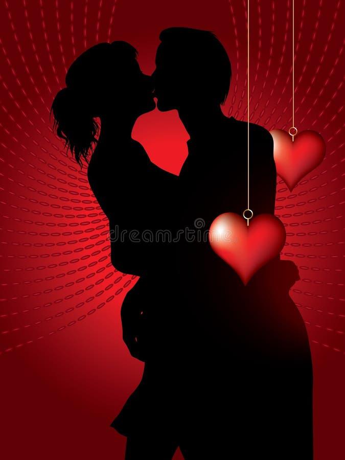 Силуэт целовать пар бесплатная иллюстрация