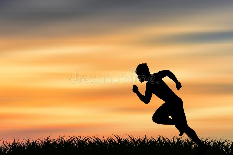 Силуэт человека бежать на большей скорости стоковые изображения rf
