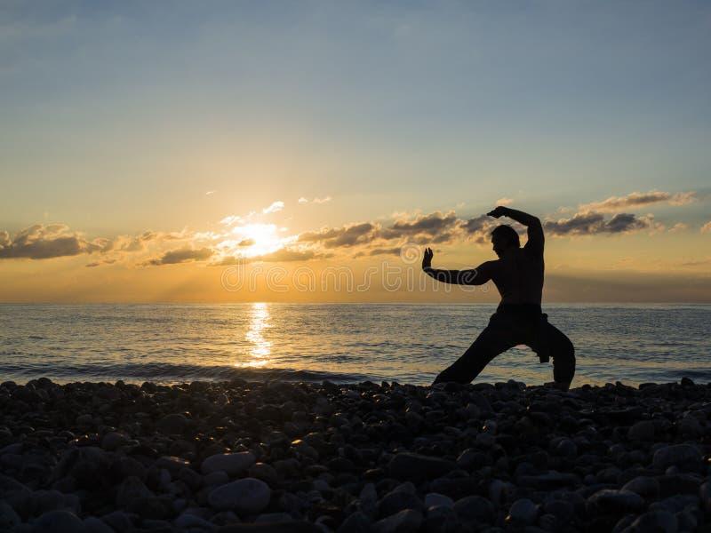 Силуэт человека боевых искусств на небе захода солнца на предпосылке стоковые фото