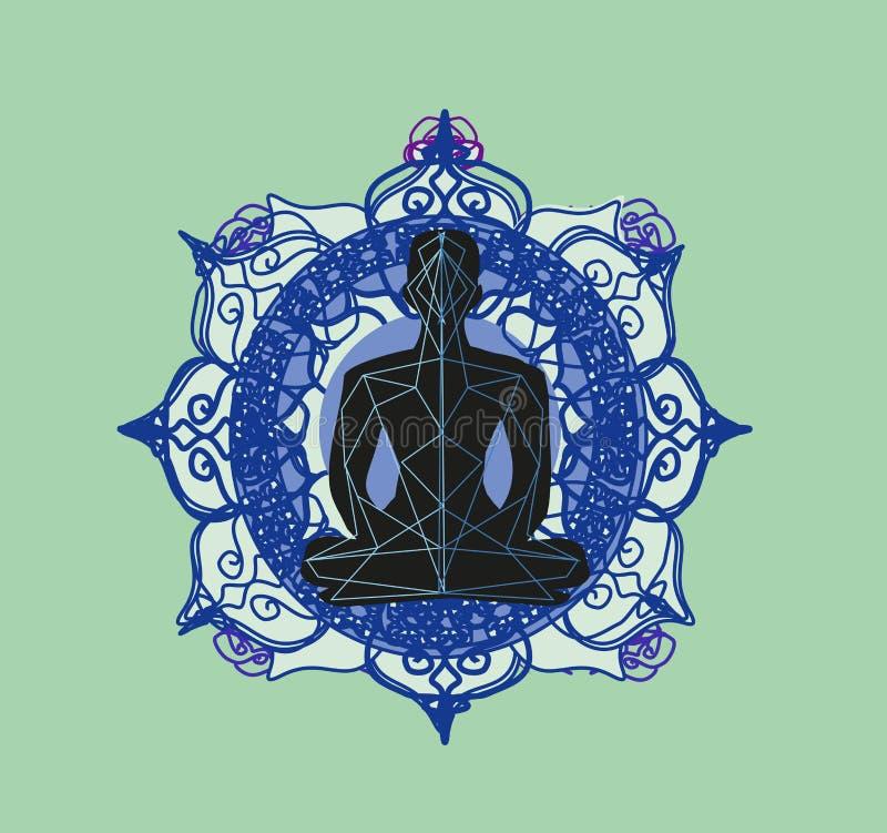 Силуэт человека размышляет, карта йоги иллюстрация штока