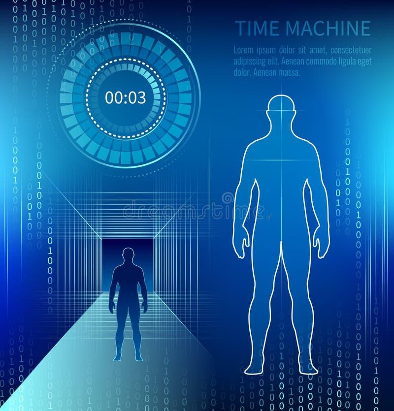 Силуэт человека рядом с машиной времени иллюстрация вектора