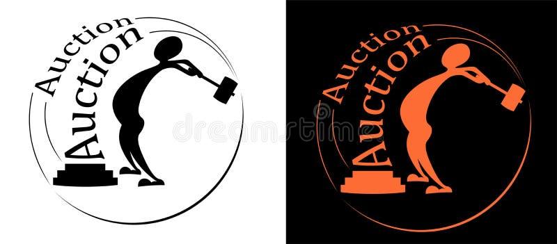 Силуэт человека с логотипом оформления молотка для аукционов иллюстрация штока