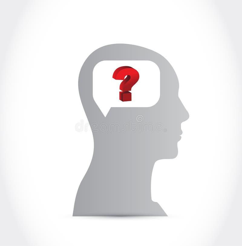 Силуэт человеческой головы с вопросительным знаком иллюстрация вектора