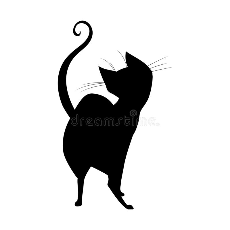 Силуэт черного кота ведьмы стоя назад бесплатная иллюстрация