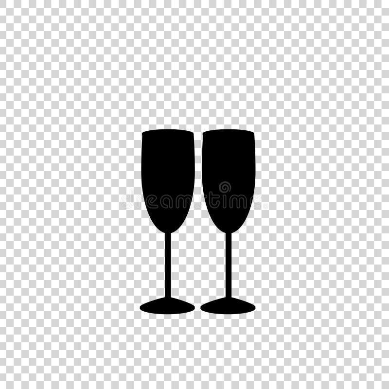 Силуэт черноты вектора изолированных бокалов пар иллюстрация штока