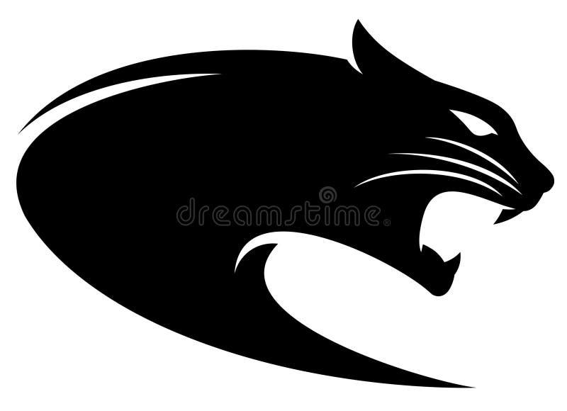 Силуэт черноты головы пантеры стоковое фото rf