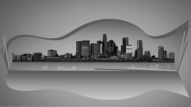 Силуэт черноты города горизонта Лос-Анджелеса с серой предпосылкой иллюстрация вектора