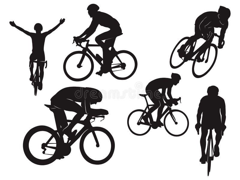 Силуэт черноты торжества велосипеда дороги езды велосипедиста задействуя иллюстрация вектора