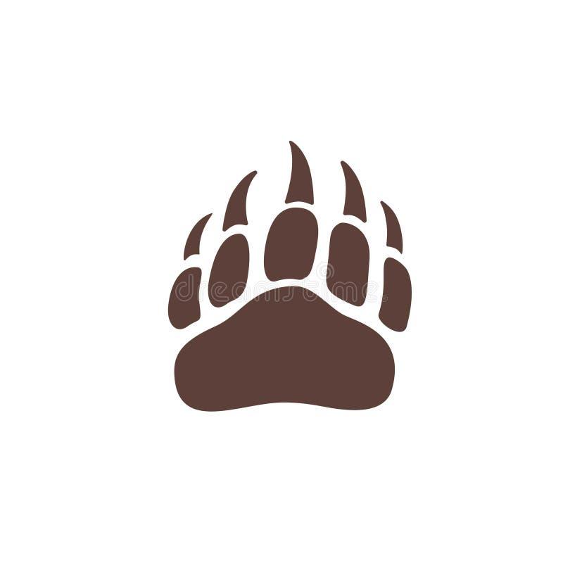 Силуэт шага лапки медведя вектора для логотипа, значка, плаката, знамени Печать лапки дикого животного с когтями След медведя, от иллюстрация вектора