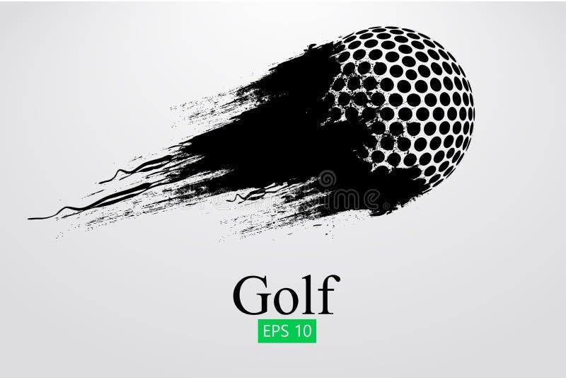 Силуэт шара для игры в гольф также вектор иллюстрации притяжки corel
