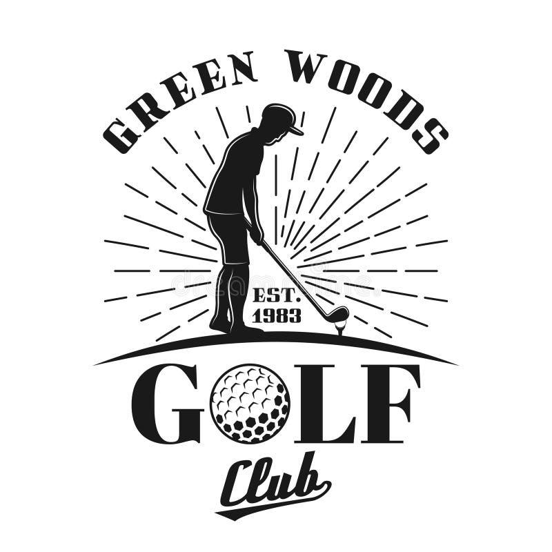 Силуэт эмблемы вектора игрока в гольф и лучей бесплатная иллюстрация