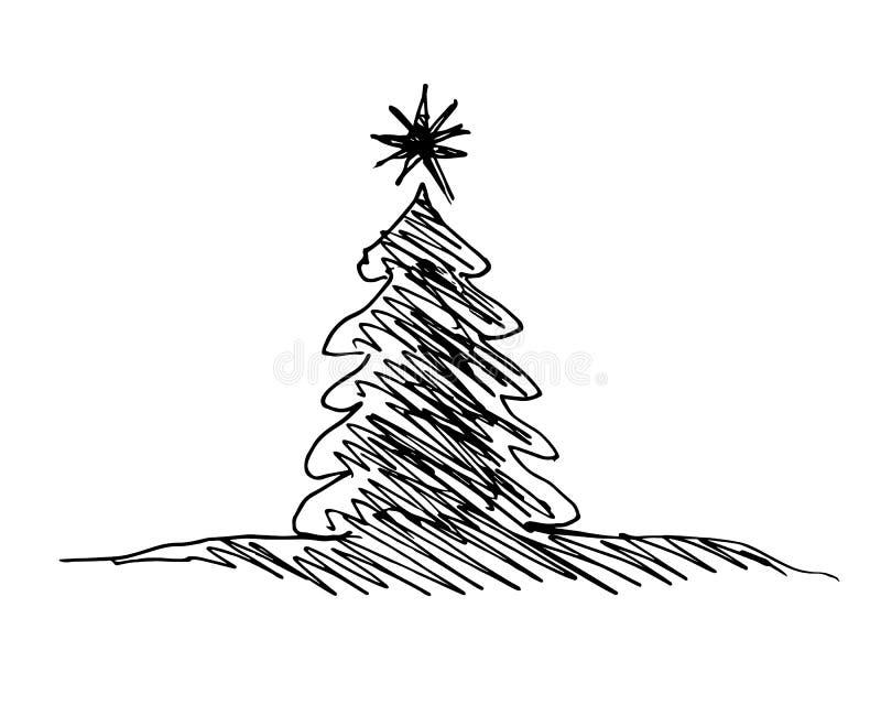 Силуэт эскиза руки рождественской елки иллюстрация вектора