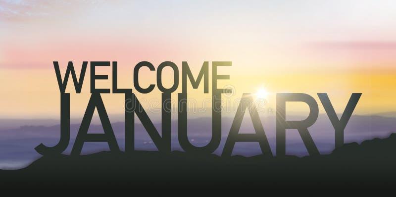 Силуэт январь с восходом солнца стоковая фотография