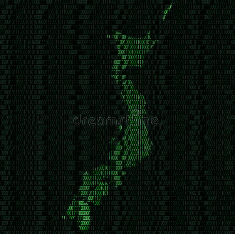 Силуэт Японии от разрядов двоичного числа иллюстрация штока