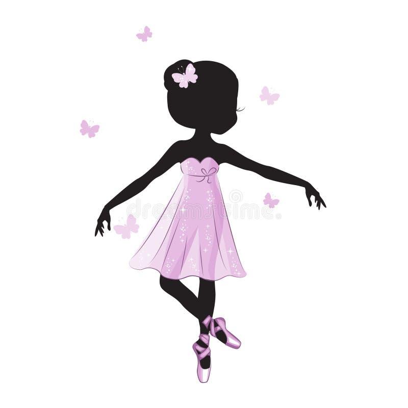 Силуэт beauliful маленькой принцессы иллюстрация штока