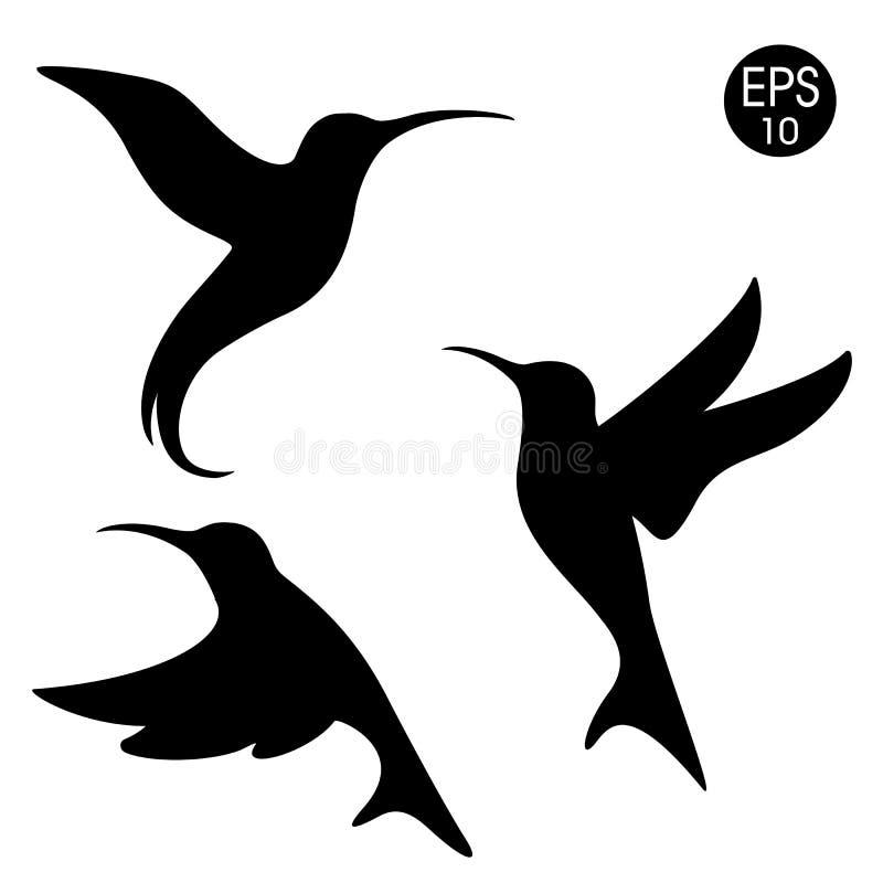Силуэт colibri вектора черный Птицы установленные на белую предпосылку иллюстрация вектора