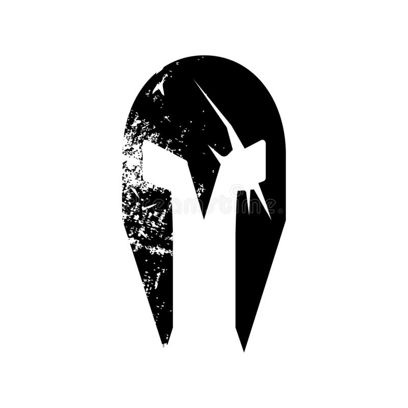 Силуэт spartian шлема со шрамами шпаги r иллюстрация вектора