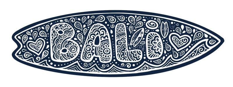 Силуэт surfboard вектора с знаком Бали стиля doodle, волнами и богато украшенными падениями бесплатная иллюстрация