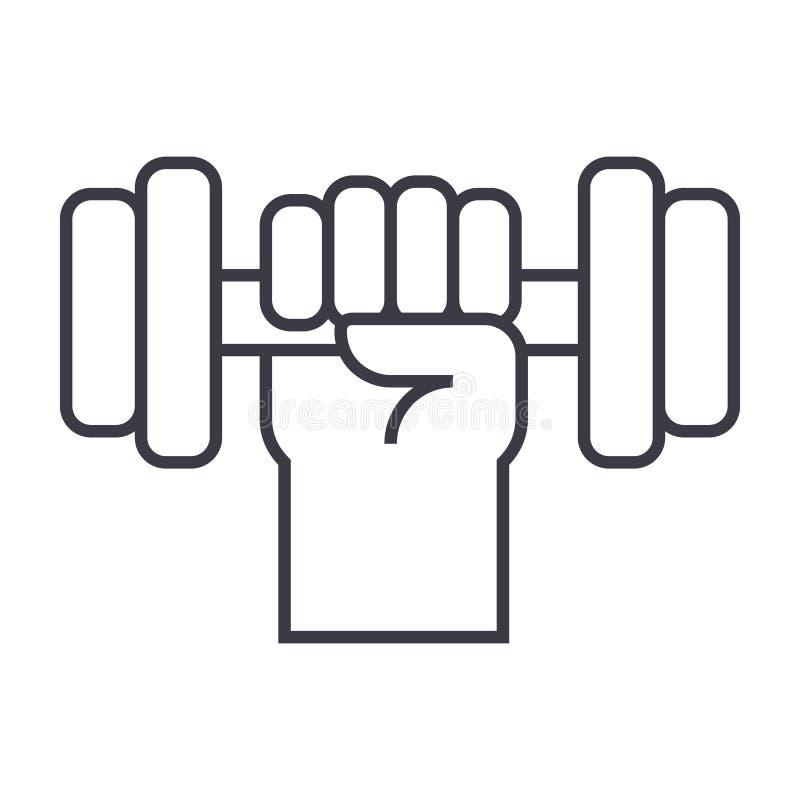 Сильная рука с линией значком вектора гантели, знаком, иллюстрацией на предпосылке, editable ходах иллюстрация вектора