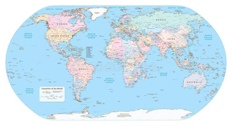 Сильно детальная политическая карта мира Вектор EPS 10 иллюстрация штока