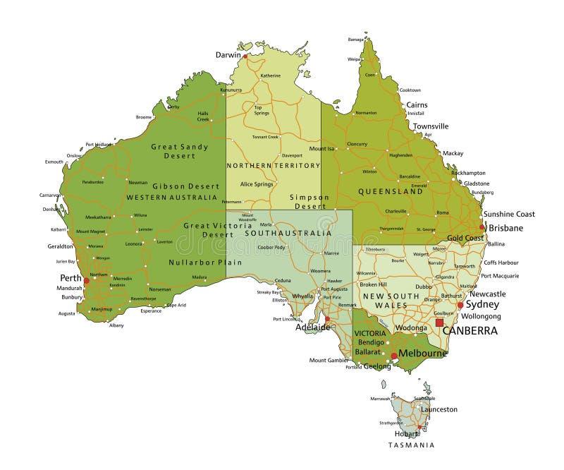 Сильно детальная editable политическая карта с отделенными слоями australites иллюстрация штока