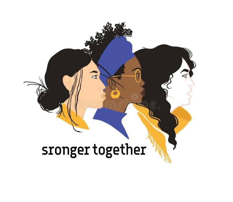 сильно совместно Солидарность девушек Равные права для каждого феминизм иллюстрация штока
