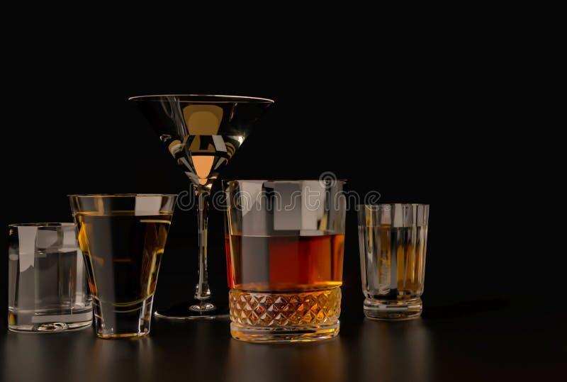 Сильные алкогольные напитки, стекла и стекла, в присутствии к вискиу, водка, ром, текила, рябиновка, коньяк на темном старом back стоковое изображение rf