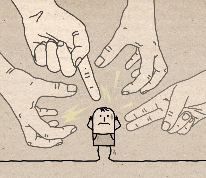 Сильные руки с персонажем из мультфильма - агрессия и паранойя бесплатная иллюстрация