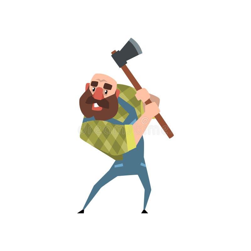 Сильный бородатый woodcutter работая с осью Смешной облыселый lumberjack Характер человека шаржа в зеленой checkered рубашке и бесплатная иллюстрация