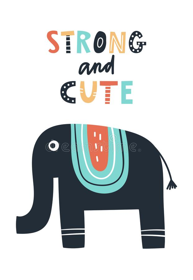 Сильный и милый - милые дети вручают вычерченный плакат питомника с животным и литерностью слона бесплатная иллюстрация