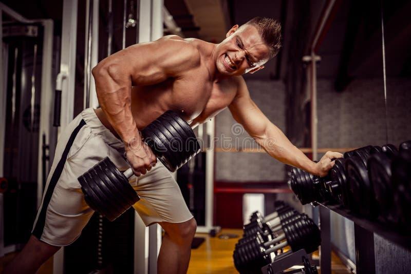 Сильный культурист делая тяжеловесную тренировку для задней части стоковое фото