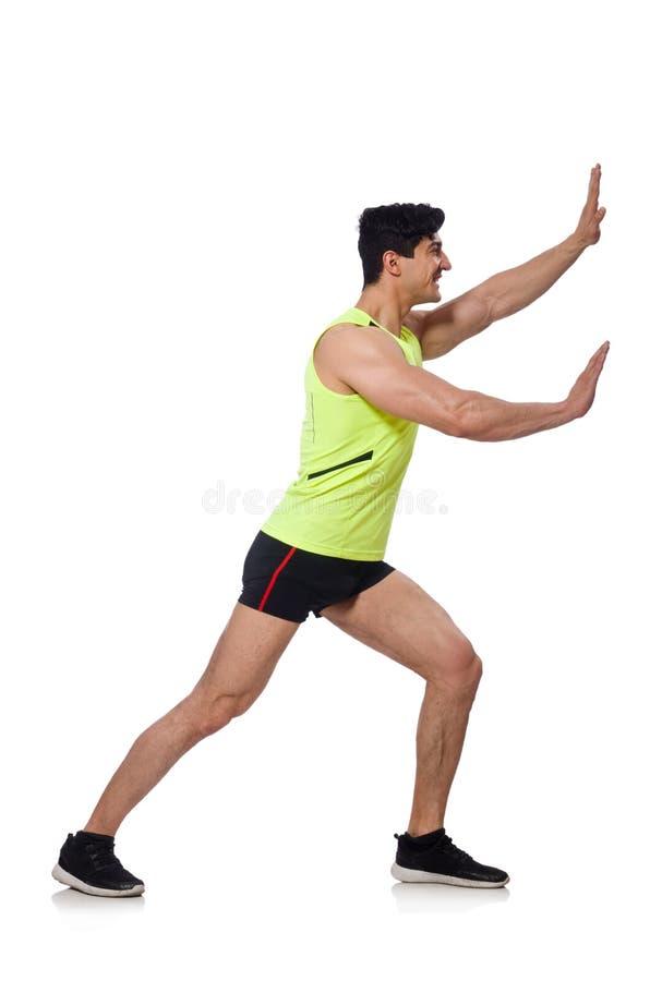 Сильный мужской спортсмен изолированный на белизне стоковая фотография