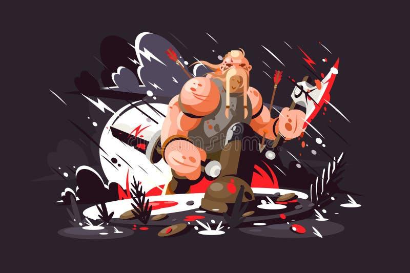 Сильный норвежский воин иллюстрация штока